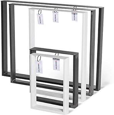 HOLZBRINK Patas de Mesa perfiles de acero 60x20 mm y barra plana 3 mm, forma de marco 90x72 cm, Negro Intenso, 1 Pieza, HLT-02-E-GG-9005: Amazon.es: Hogar