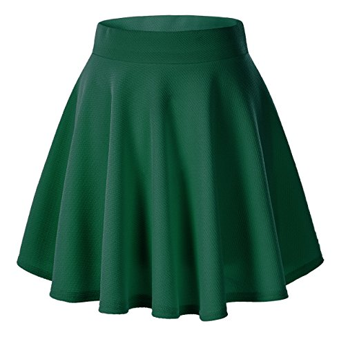 Urban CoCo Women's Basic Versatile Stretchy Flared Casual Mini Skater Skirt (Large, Green) -