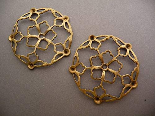 (2 Filigree Circles with Settings - Raw Brass 39mm)
