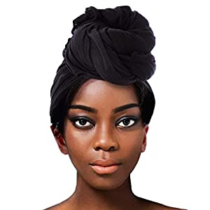 ACRABROS Stretch Jersey Turban Head Wrap, Urban Hair Scarf – Ultra Soft, Extra Long,Breathable,Black
