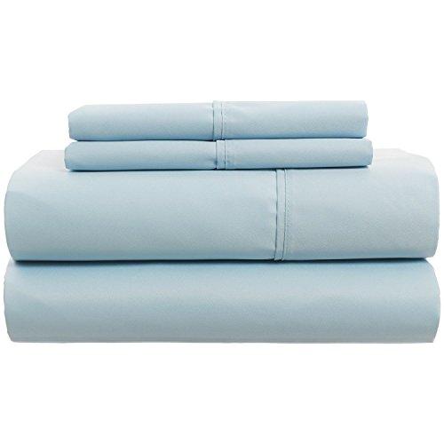 4 Pieces 100% Cotton 300 Thread Count Elegance and Durability Sateen Sheet Set (Light Blue, Queen)