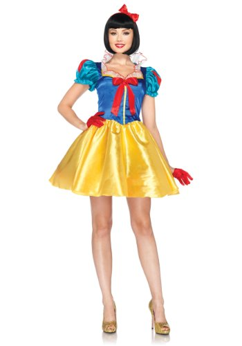 Leg Avenue Disney 2Pc. Classic Snow White Costume Dress with Bow Head Piece, Blue/Yellow/White, Small/Medium (S/M, (Snow White Costume For Adults)