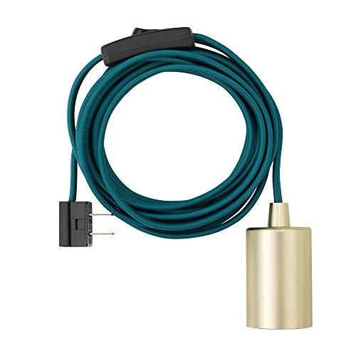 Novogratz x Globe 1-Light Plug-In Exposed Socket Pendant, 15-ft Teal Cloth Cord, In-Line On/Off Rocker Switch, Brass Socket 69997