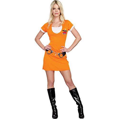 Convict Cutie Halloween Costume (Convict Cutie Adult Women's Prisoner Halloween Costume Size Small 4-6)