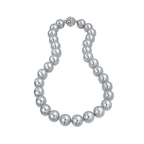 Bling Jewelry Rhodium Plated Simulated Gray Pearl Bridal Necklace 16 - Necklace Pearl Gray