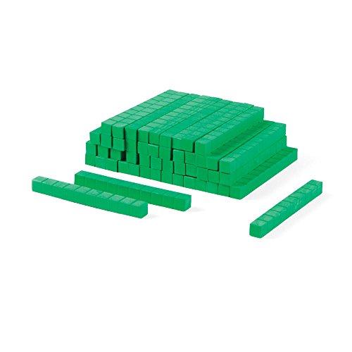 ETA hand2mind Green Foam Base Ten Blocks, Rods (Pack of 50) (Value Cubes Place)