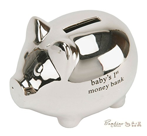 Silver Piggy Sterling Bank (Bambino Baby Christening Gifts. Silver plated Piggy Money Bank)
