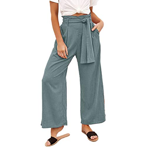 MOLFROA Womens Casual Crop Wide Leg Lace Up High Waisted Dress Pants with Fabric Belt (Light Green, XL) (Best Fabric For Women's Pants)