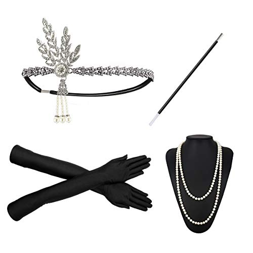 1920s Flapper Costume Accessories Set 20s Gatsby Pearl Necklace Headband Gloves Cigarette Holder Earrings (X13)