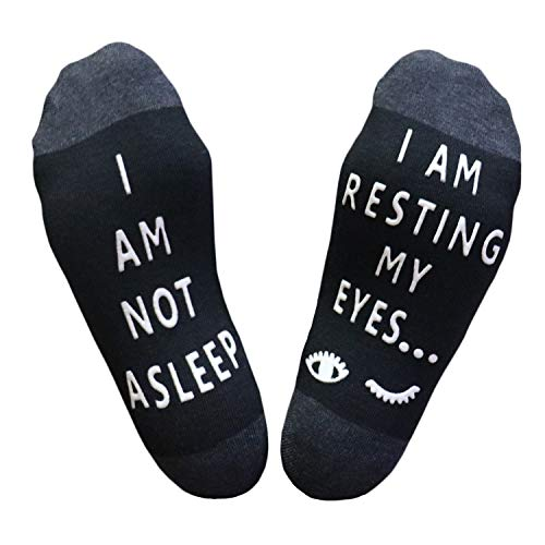 "Salamola""I am NOT asleep,I am resting my eyes"" Funny Socks Novelty Cotton Socks(Black)"