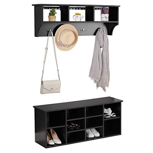 Entryway Storage Bench with Coat Rack - Bizzoelife Wall Mounted Coat Bench Set for Hallway (Hooks Hallway With Bench)