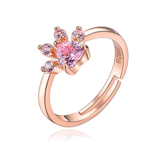 - eMeition Cute Dog Cat Paw Stud Earrings Rings Set for Women Pink Heart Cubic Zirconia Crystal Necklace Bracelet Sets 18K Rose Gold Filled Animal Jewelry