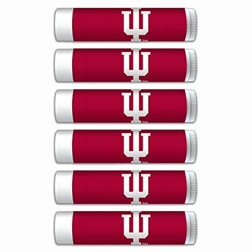 NCAA Indiana Hoosiers Premium Lip Balm 6-Pack Featuring SPF 15, Beeswax, Coconut Oil, Aloe Vera, Vitamin E. NCAA Gifts for Men and Women, Mother's Day, Fathers Day, Easter, Stocking Stuffers]()
