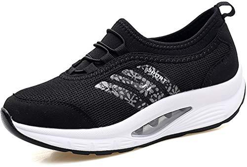 Orlancy Women s Shape Ups Platform Loafers Sports Sneakers Black 1162ea33c05