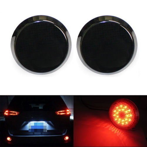 iJDMTOY (2) Dark Smoked Lens 21-SMD Red LED Bumper Reflectors For Scion iQ, xB, Toyota Sienna Limited, Corolla As Brake Tail Lights