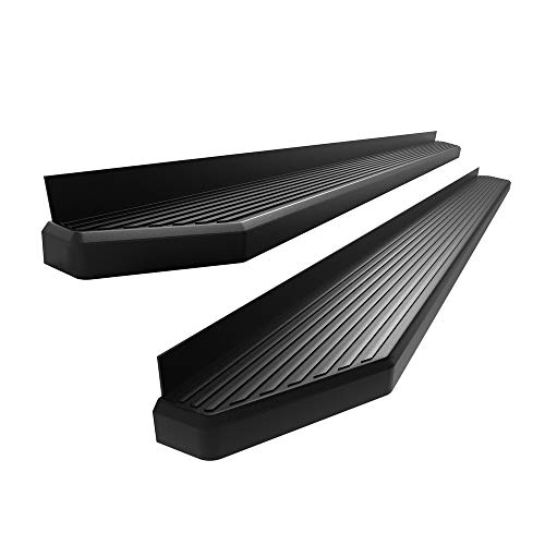 APS iBoard 6-inch Aluminum (Black Flat Style) Running Boards Nerf Bars Compatible with 2009-2018 Dodge Ram 1500 Crew Cab Pickup 4-Door & 2010-2019 Ram 2500 3500 (Exclude Chassis Cab Diesel Models)