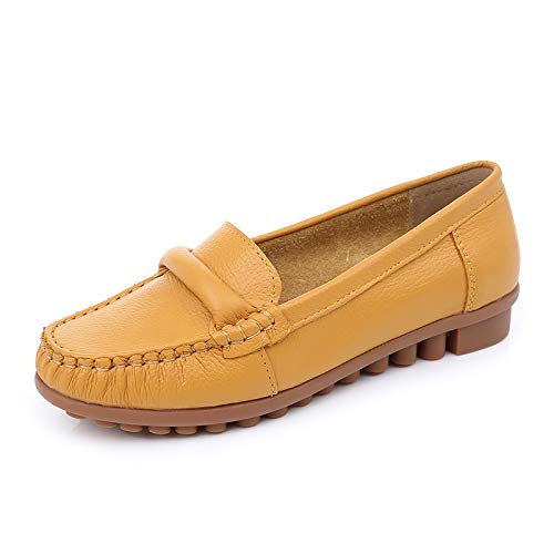 pregnant Leather shoes low heel shoes women yellow non shoes single casual slip work flat ladies comfortable shoes fashion shoes FLYRCX Pq14wd1