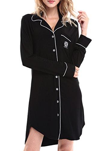 NORA TWIPS Womens Comfort Nightshirt Sleep Shirt Dress Lounge Sleepwear Nighty Pajamas (Black,L)