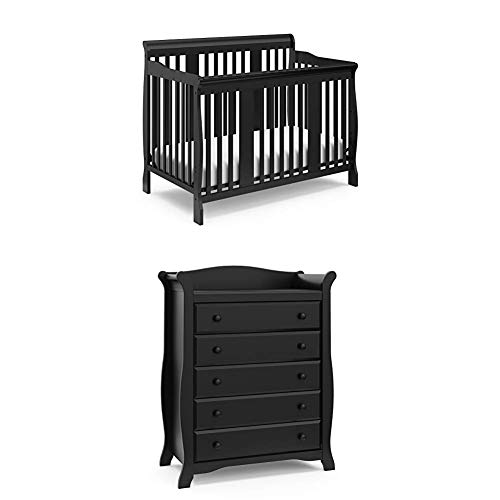 Storkcraft Tuscany Deluxe Nursery Set, Black | Includes 4-in-1 Convertible Crib, 5 Drawer Universal Dresser, Changing Table with Drawer