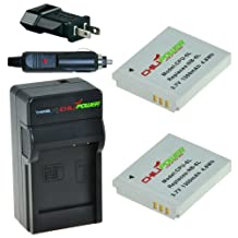 ChiliPower NB-6L, CB-2LY 1300Ah Battery 2-Pack + Charger (US Plug) for Canon PowerShot D10, D20, S90, S95, S120, SD770 IS, SD980 IS, SD1200 IS, SD1300 IS, SD3500 IS, SD4000 IS, SX170 IS, SX240 HS, SX260 HS, SX270 HS, SX280 HS, SX500 IS, SX510 HS, ELPH 500 HS, Ixus 25 IS, 85 IS, 95 IS, Digital Ixus 105, 200 IS, 210