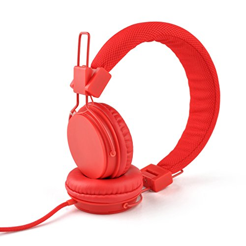 Einskey Kids Headphones, Wired On-Ear Headsets for Children with Microphone, Comfortable Lightweight & Foldable Design for Boys and Girls (Red)