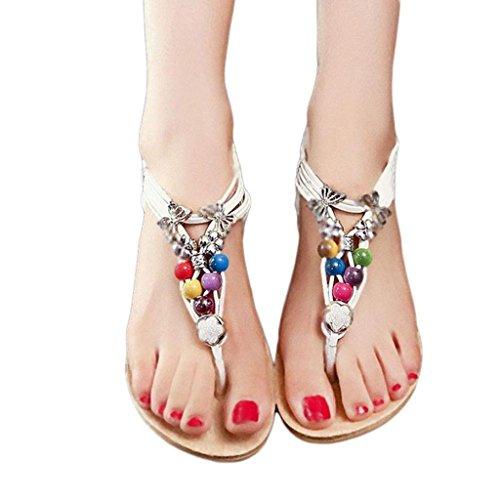 ... Damen Sandalen, SHOBDW Sommer Böhmen süße Perlen Sandalen Clip Toe  Sandalen Strand Schuhe Weiß ...
