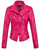 chouyatou Women's Stylish Oblique Zip Slim Faux Leather Biker Outerwear Jacket (XX-Large, Rose)