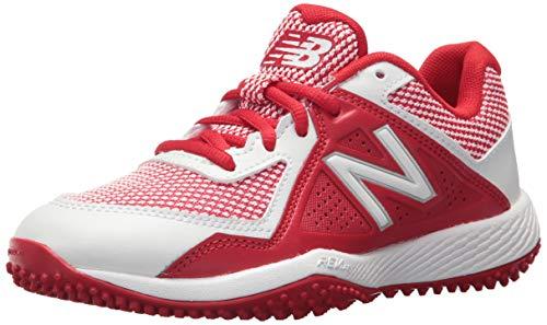 New Balance Boys' TY4040V4 Turf Baseball Shoe, RED/White, 2 Medium US Little Kid