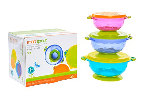 Smart Sprout Baby Bowls – Stay Put Suction Bowls Set with Snap Tight Lids - FDA Approved, BPA Free, Lead Free, Phthalate Free - Stackable for easy Storage – Microwave, Dishwasher and Freezer Safe by Smart Sprout