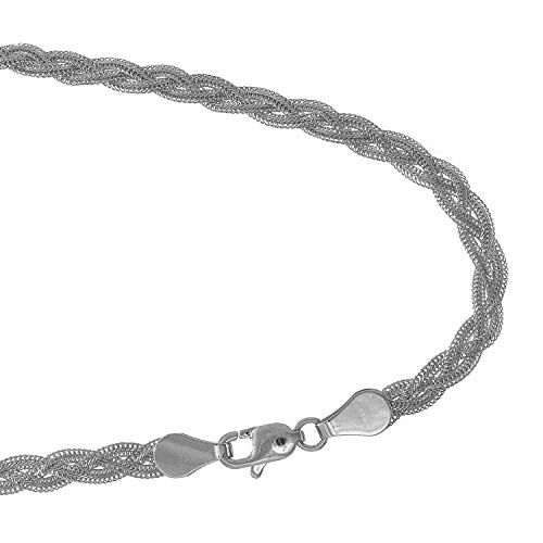 JewelStop 14k White Gold 3.5 mm Braided foxtail Chain Bracelet, Lobster Claw Clasp-7