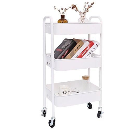 - 3-Tier Metal Rolling Utility Cart, Heavy Duty Storage Organizer Art Cart Craft Cart, White