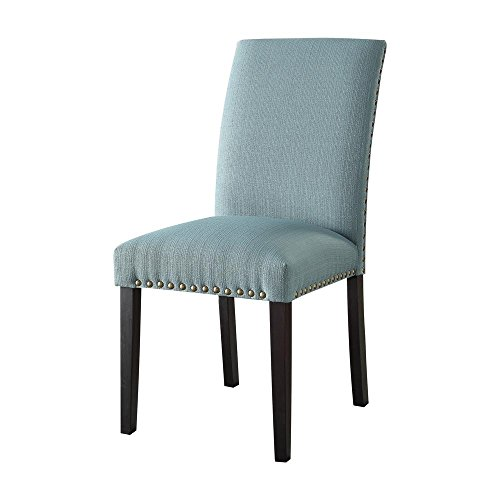 Major-Q Nail-Head Trimmed Side Chair for Dining Room/Living Room/Office, Light Green Linen 19 x 39 x 25 For Sale