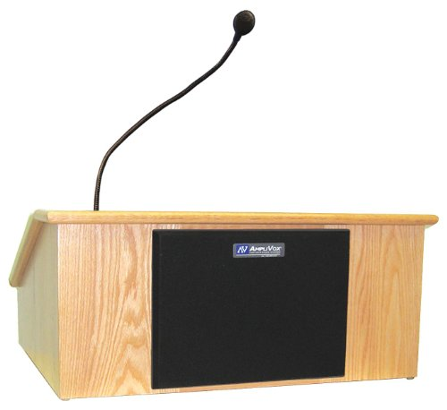 AmpliVox - SS3025-MP - AmpliVox SS3025 - Victoria Tabletop Lectern with Sound System - 12 Height x 26 Width x 22 Depth - Clear Lacquer, Maple - Solid ()