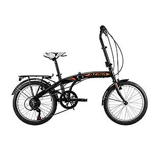 """41zj9PjUsjL. SS300 Atala Nuovo Modello 2020 Bici Pieghevole ultracompatta Blue Lake 20"""", Colore Nero - Arancio, 6 velocità"""