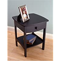 Classic Night Stand with Curved Lines Black