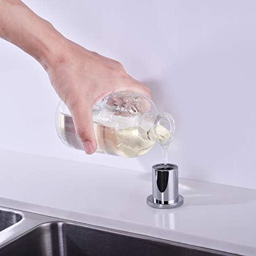 UEKPOE Soap Dispenser for Kitchen Sink Chrome Solid Brass Hand Soap Dispenser with 11oz Transparent Bottle