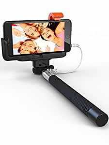 Premium 5-In-1 Wired Selfie Stick For iPhone 5, 6, Samsung Galaxy - Takes Selfies In Seconds, Get Perfect HD Photos, Video, Operates Flash - No Apps, No Downloads, No Batteries Required