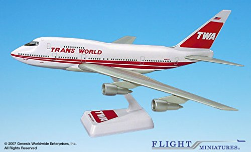 Flight Miniatures TWA Trans World Airlines OLD 1974 Boeing 747SP 1:200 Scale Display Model with Stand