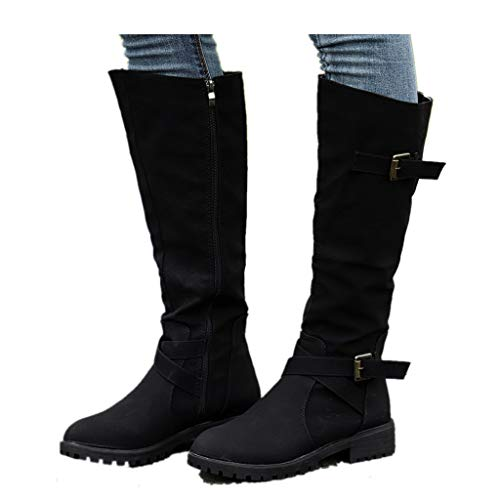Cenglings Women mid-Calf Boots Winter, Womens Knee High Calf Biker Boots Ladies Zip Punk Military Combat Army Boots Black