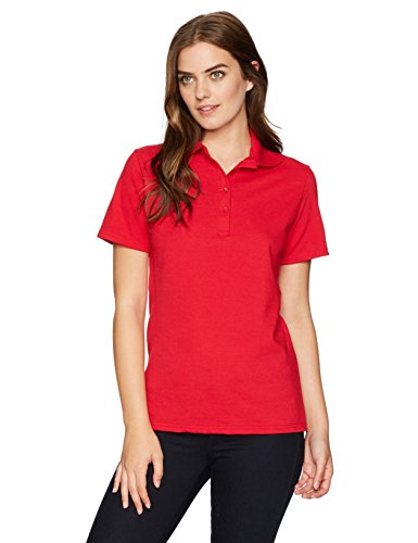 Hanes Women's X-Temp Polo With FreshIQ, Deep Red, - Polo Women Red