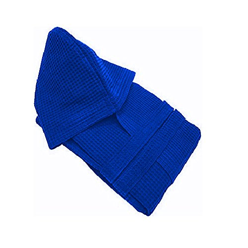 Accappatoio con Cappuccio in Nido dApe 100/% Cotone Tinta Unita Unisex Sitas S, Azzurro