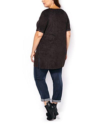 Penningtons Womens Plus Size Short Sleeve Faux-Suede Tunic Black 4X