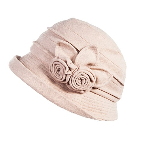 Siggi 1920s Winter Fall Wool Felt Cloche Bucket Hat Foldable for Women Beige