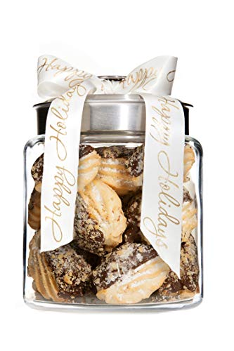 Gourmet Hazelnut Cookie Gift Jar 12 cookies, Christmas, Holiday, Corporate Gifts in Fancy Jar, Thanksgiving, Halloween, Birthday or Get-Well Idea for Men & Women (Brushed Nickel Lid) -