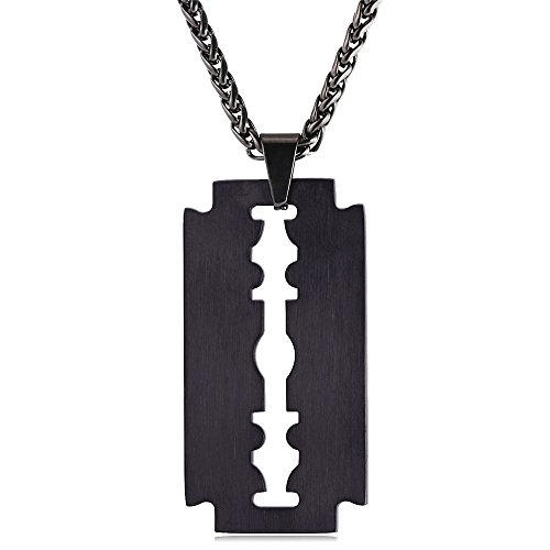 (U7 Men Cool Necklace Stainless Black Gun Plated Razor Blade Pendant, With 22 Inch Chain)