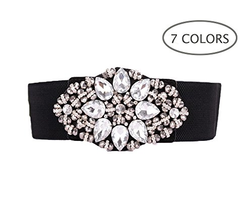 Dorchid Women Rhinstone Belt Full Crystal Buckle Cummerbund Wide Elastic Waistband 7 Colors White S (Rhinstone Crystal)