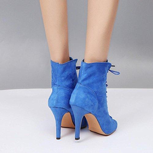 Bottines Femmes Peep Lacets Talons Sky Overdose Hauts Blue Toe RZYqqPw6