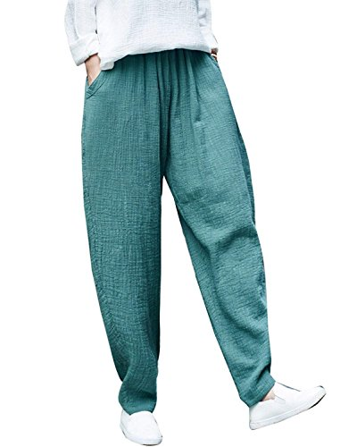 Elastica Lino Donna Sciolto Harem Pantaloni Pantaloni Monocromo Vita Tempo Vintage Pantaloni Gr Eleganti Estivi Hippie Libero Accogliente Pantaloni Pureed 5dtqCxf6w5