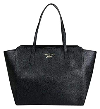 b38671992f5 Amazon.com  Gucci Women s Swing Black Leather Tote Bag Bag 354397  Clothing