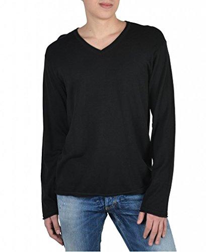 Armani Collezioni Silk Solid Black V-Neck Men's Pullover Sweater US S IT 48; Mens Silk V-neck